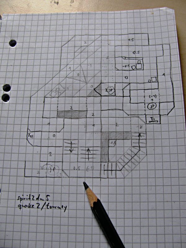 2D drawing of map from top